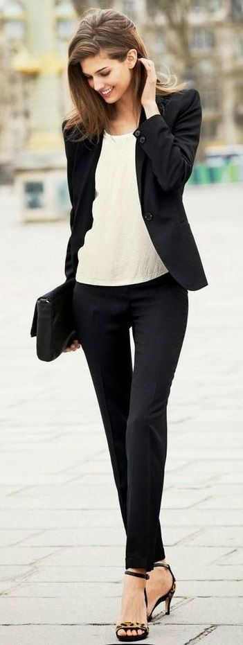 classy. beautiful. black and white palette. clean lines for the jeans.