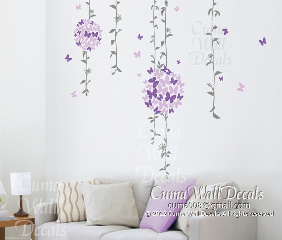 90 X 22 Large Vine Butterfly Wall Decals Removable: Best 25+ Flower Wall Decals Ideas On Pinterest