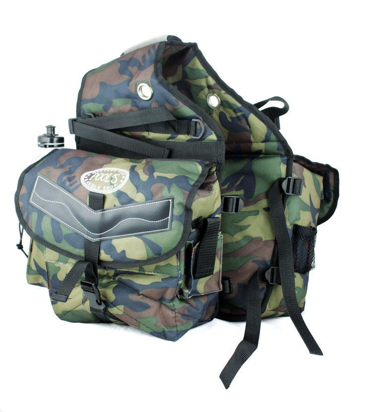 Bisaccia posteriore Pool's Camouflage in nylon imbottito con 2 tasche, borracce e riporti in cuoio.