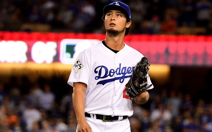 Download wallpapers Yu Darvish, 4k, baseball, Los Angeles Dodgers, MLB, starting pitcher