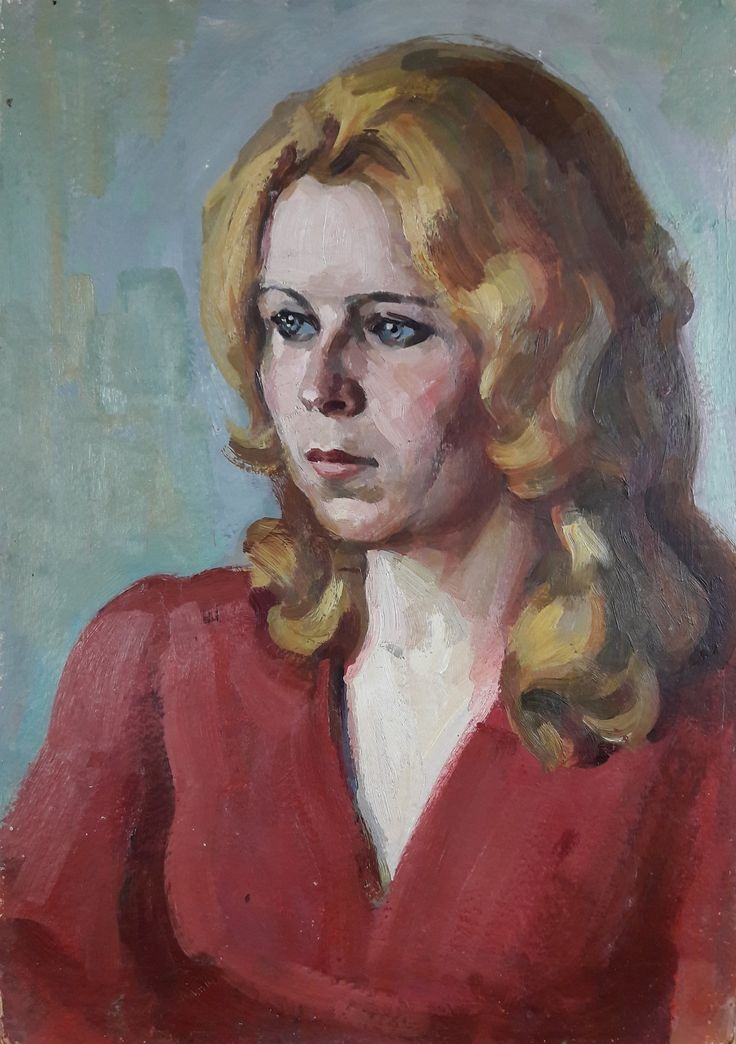 genre portrait Pashchenko cardboard Working Ukrainian artist A 1960s VINTAGE ORIGINAL PAINTING socialist realism oil
