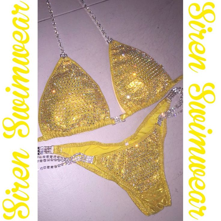 Yellow competition suit by Siren Swimwear! #sirenswimwear #ifbb #npc #npcbikini #npcfigure #wbff #nga