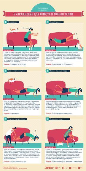 Тренировка на диване. 5 упражнений для живота и тонкой талии   Секреты красоты   Здоровье   Аргументы и Факты