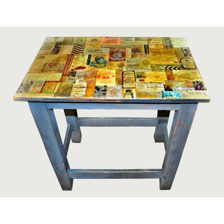 Decoupage Furniture, decoupage table, Handmade kitchen table Dimensions: 73x77x50