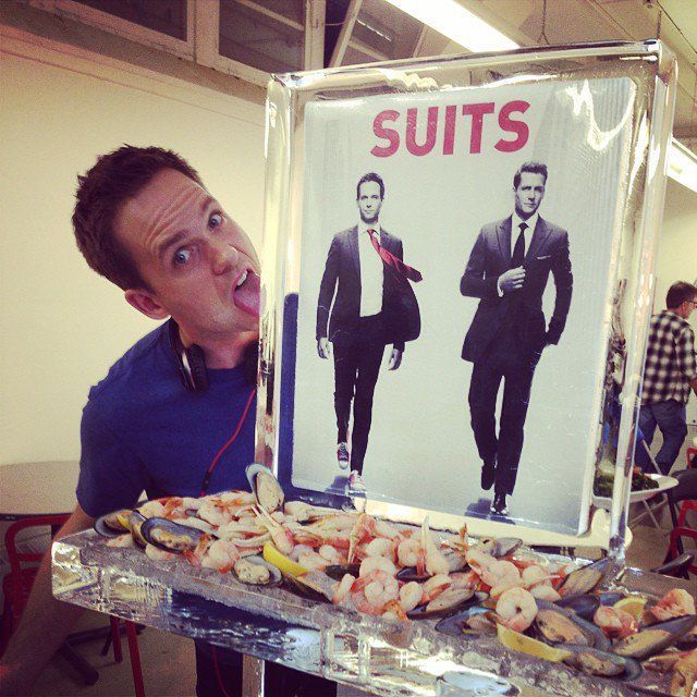 Pin for Later: Celebrity Candids You Don't Want to Miss This Week  Patrick Adams got silly on the Suits set. Source: Instagram user Sarah Rafferty