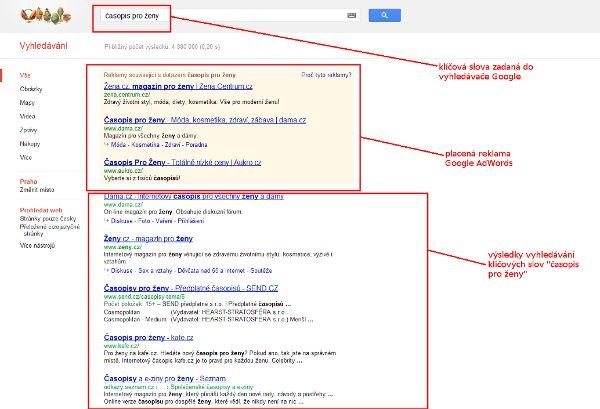 zobrazení výsledků vyhledávání - Google