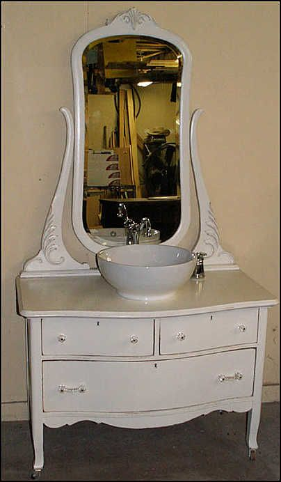 Antique Bathroom Vanity: Shabby Chic Princess Dresser with Vessel Sink