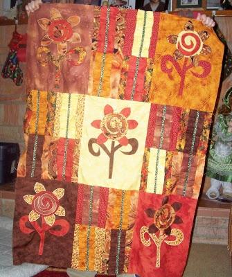 fun sunflower batik quilt