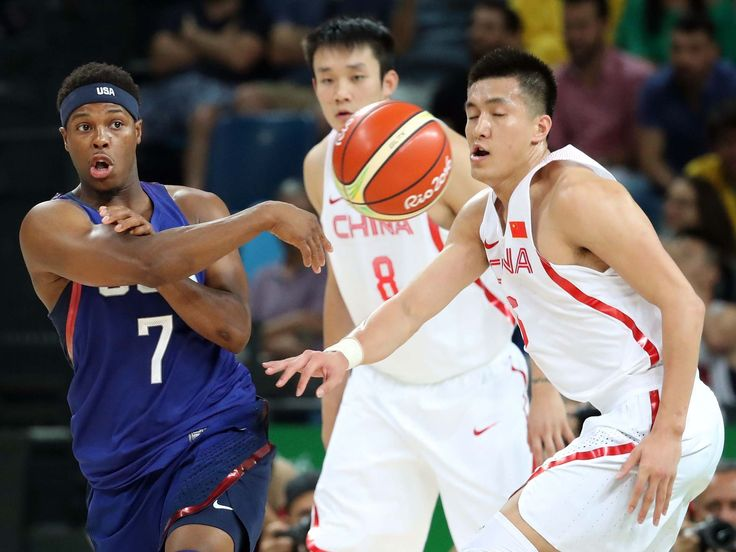 United States guard Kyle Lowry (7) passes the ball against China guard Ran Sui (5) in the men's basketball group A preliminary round during the Rio 2016 Summer Olympic Games at Carioca Arena 1.  Jason Getz-USA TODAY Sports
