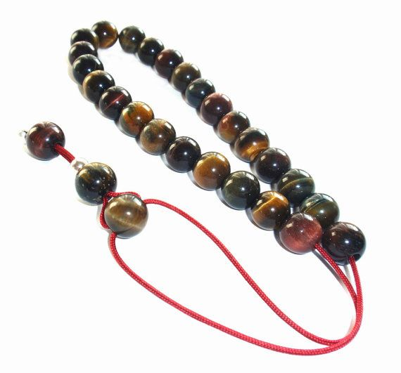 Iron Tiger Eye  Hand made Worry Bead  by LeFuCycliste on Etsy