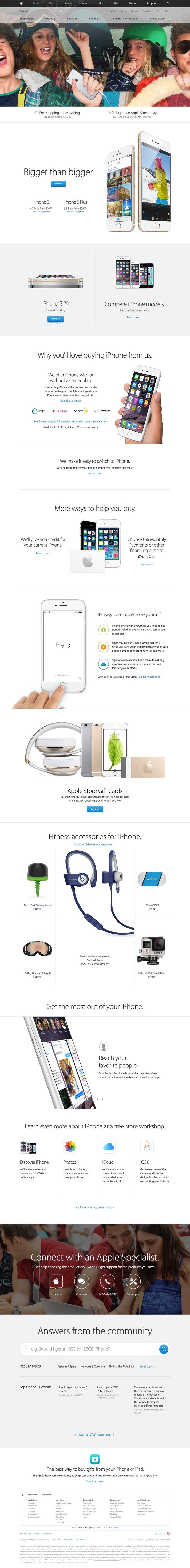 Apple Desktop Product Page Apple.com has always been a website that has pushed web design to the next level. The iPhone 6 page on the Apple site is another fresh approach. Because this page showcases all current iPhones, it's classified as a category page.  - http://www.cartrepublic.com/gallery/2014/12/apple-desktop-product-page/