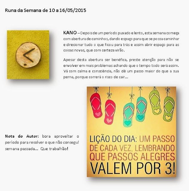 MAURICIO FERREIRAA: Runa da Semana de 10 a 16/05/2015
