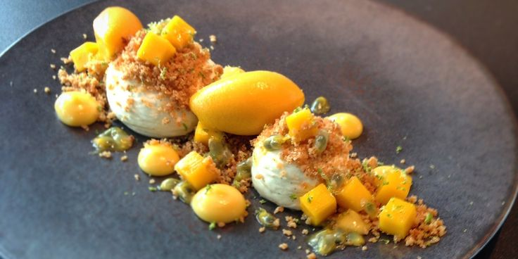 A deconstructed version of a mango cheesecake recipe from pastry chef Daniel Fletcher, with the exotic flavours of passion fruit and mango.