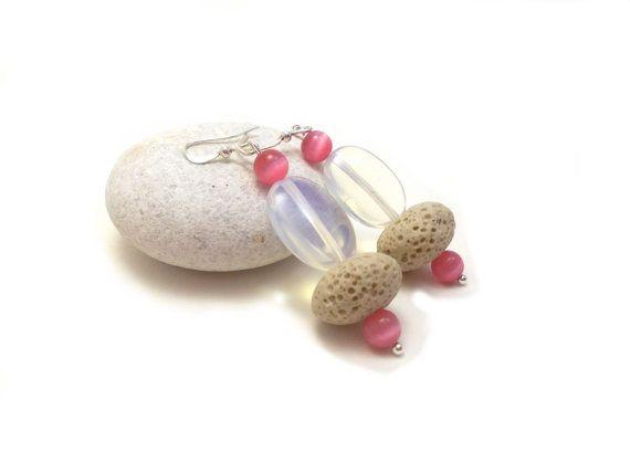 Pastel Pink Earrings White Lava Beaded Earrings by EfZinCreations, $16.00