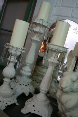 candle holders made from lamp parts ....  okay sisters (you know who you are!), if you don't tell, I won't tell, and we can call dibs when you know who is gone ...