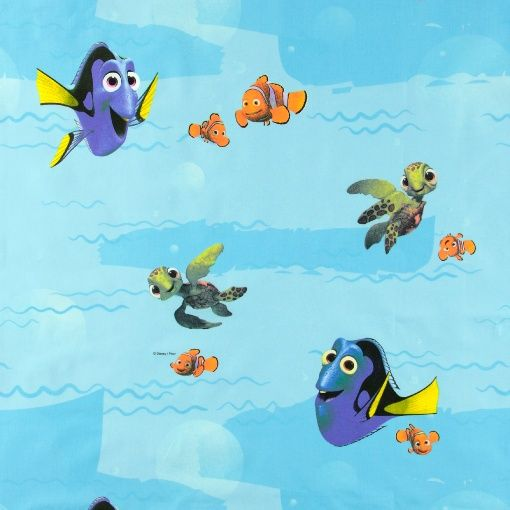 Cotton blue with Finding Dory Disney - Finding Nemo printed cotton. Great for DIY projects for children!
