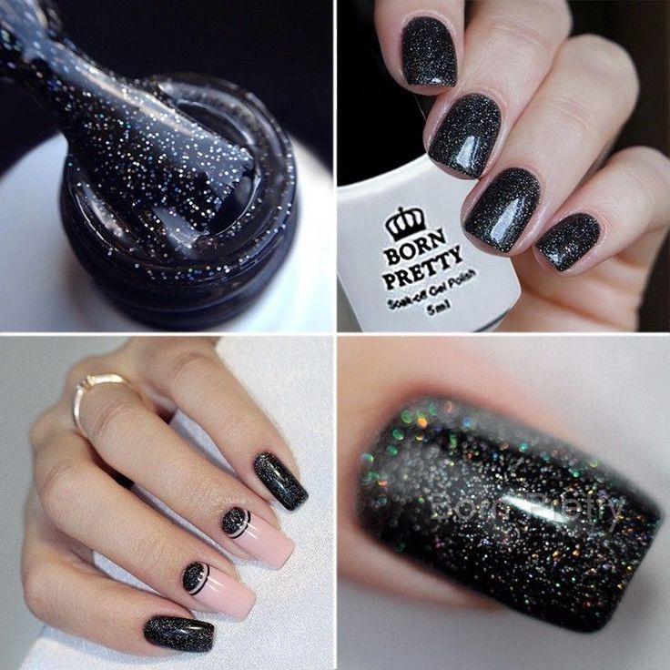 BORN PRETTY Glitter Sequins UV Gel Nail Art Soak Off 5ml Black Manicure Varnish #BORNPRETTY