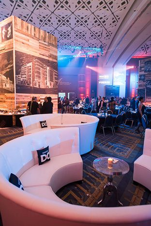 Events DC sponsored a lounge with circular white couches and branded pillows, in addition to a food pavilion and...