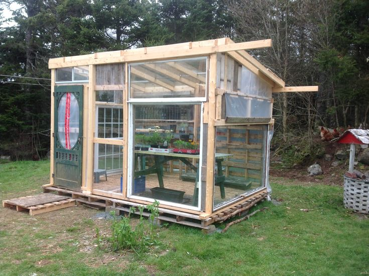 Greenhouse from pallets and old windows gardening for Build a greenhouse from pallets