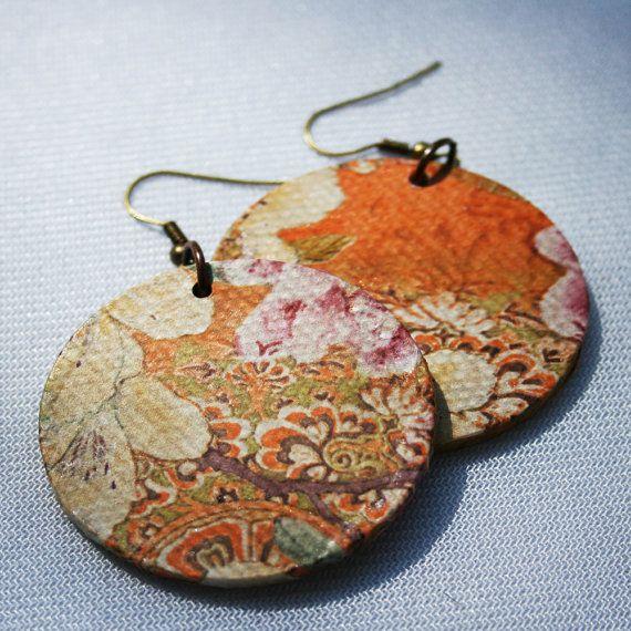 Boho Decoupage Paper Earrings