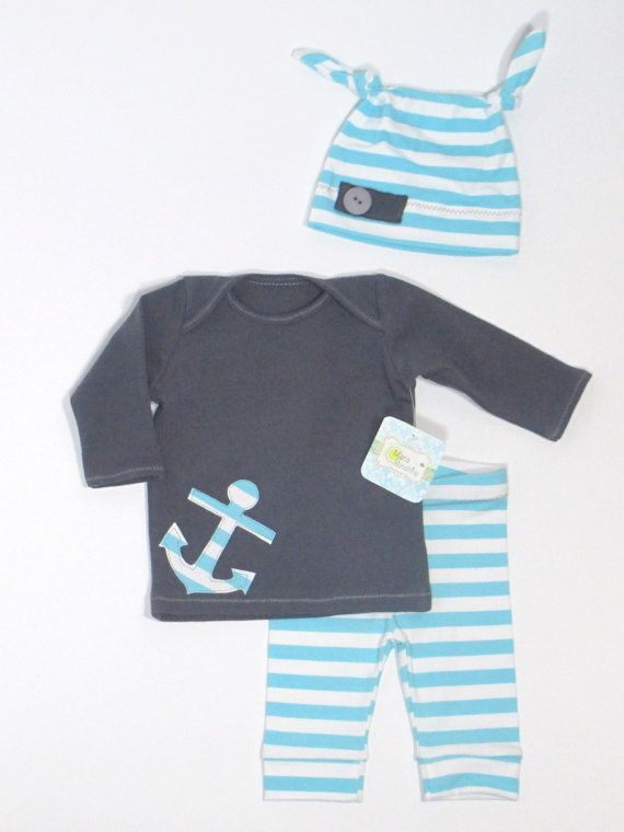 Charcoal+Gray+and+Blue+Baby+Outfit+with+Knot+Hat+by+MariaSunshine