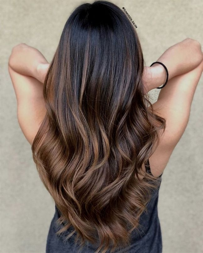 33 Soft Warm Brown Balayage For Black Hair You Can Instantly Add Warmth And Intrigue To Dark Hair Wi Light Brown Balayage Brown Hair Balayage Hair Highlights