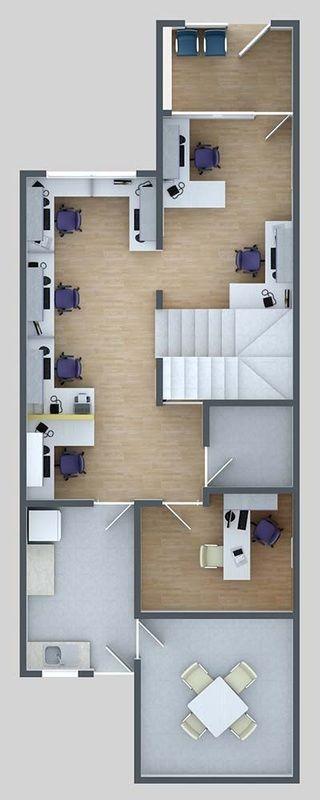 planos en 3d de oficinas