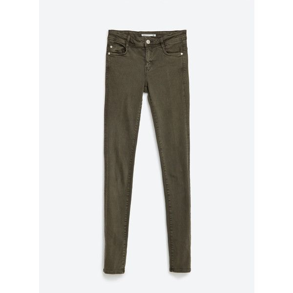 Zara Body Curve Jeggings ($36) ❤ liked on Polyvore featuring pants, leggings, khaki, white jean leggings, khaki jeggings, white trousers, khaki trousers and white pants