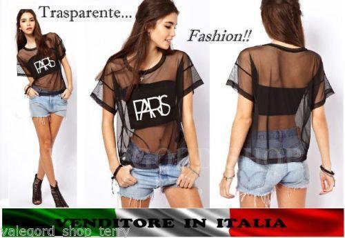 Camicetta-TRASPARENTE-PARIS-velata-S-M-L-XL-nera-shirt-top-maglietta-donna-ampia
