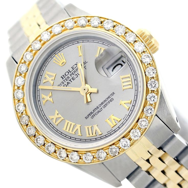 Captivating Ash Gray Roman Diamond Dial/Bzl Rolex Lady Datejust Two-Tone Watch #Rolex #Casual