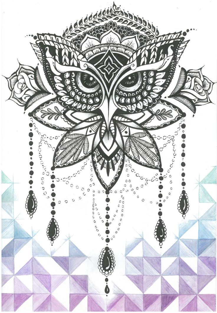 Ornate Owl - Hand inked and coloured by Jolene-eSousa.deviantart.com on…