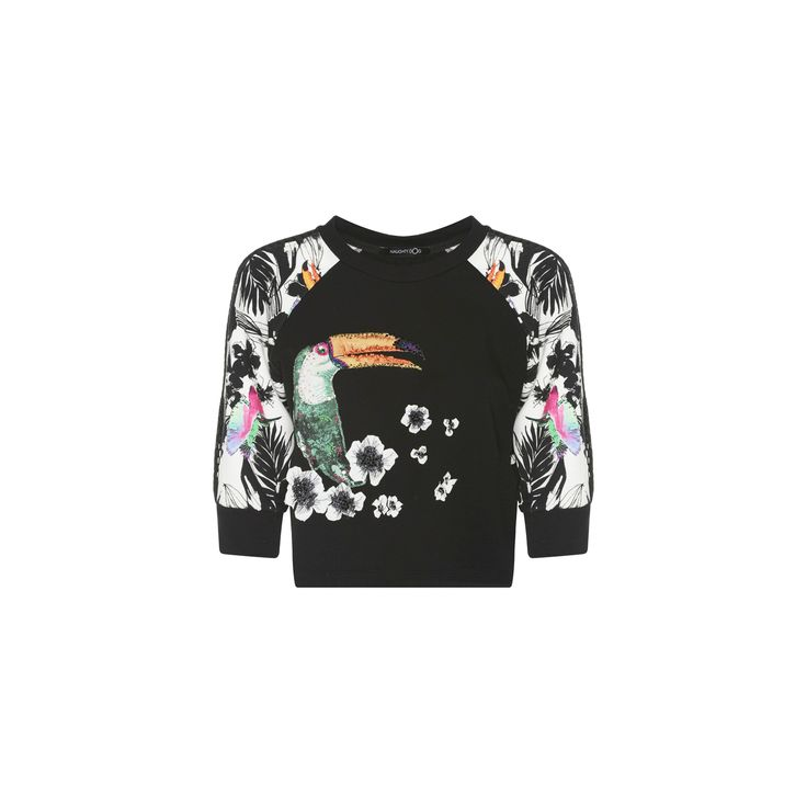 """Naughty Dog SS16 """"Tucan"""" blouse decorated with embroidered flowers and Swarovski crystals"""