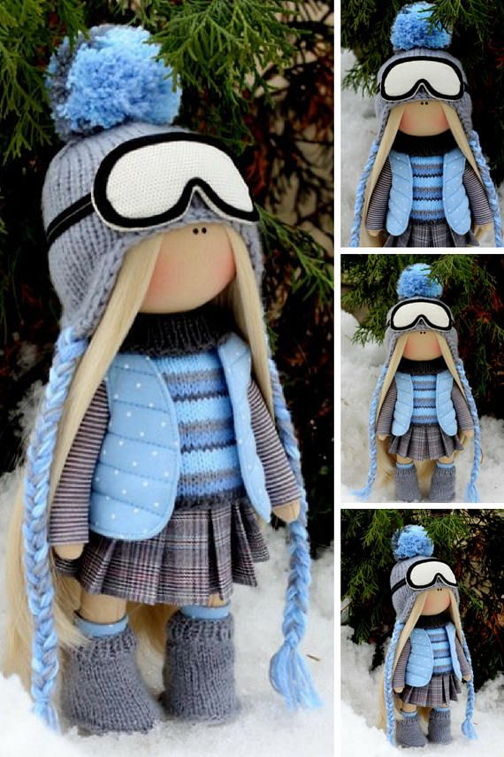 Muñecas Bambole Puppen Tilda doll Blue doll Winter doll