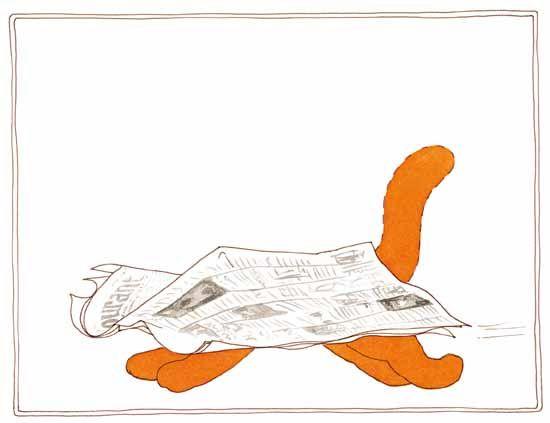 Prent 3 - Dikkie Dik holt weg. Een krant met 4 pootjes en een staart...! Heb je ooit zoiets geks gezien?