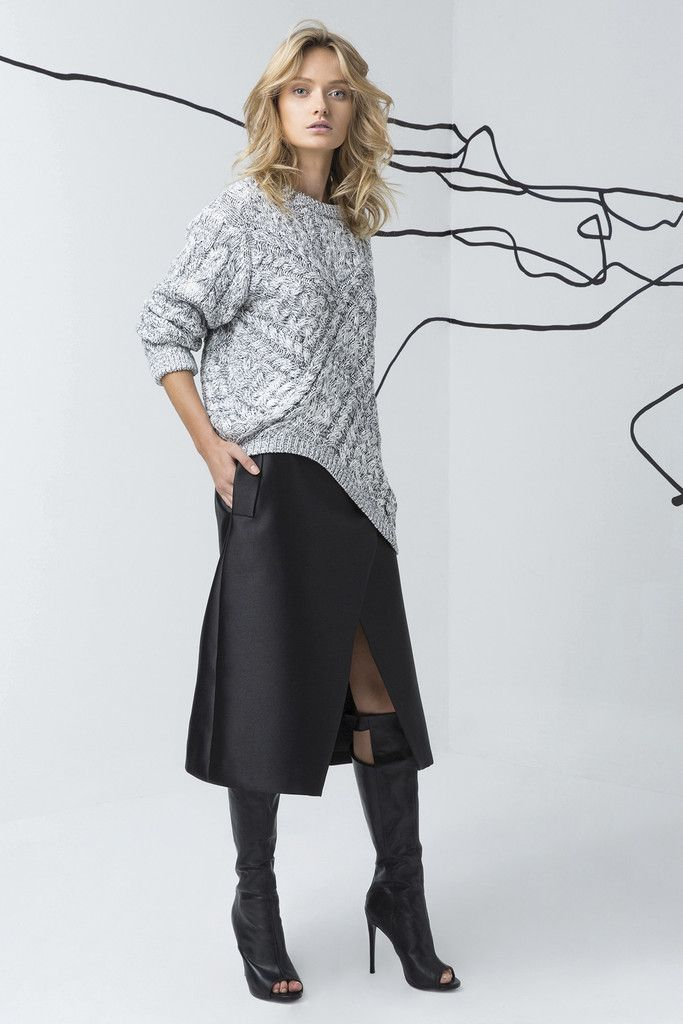 C/MEO COLLECTIVE black skirt and grey knitter sweater are available at suitster.com