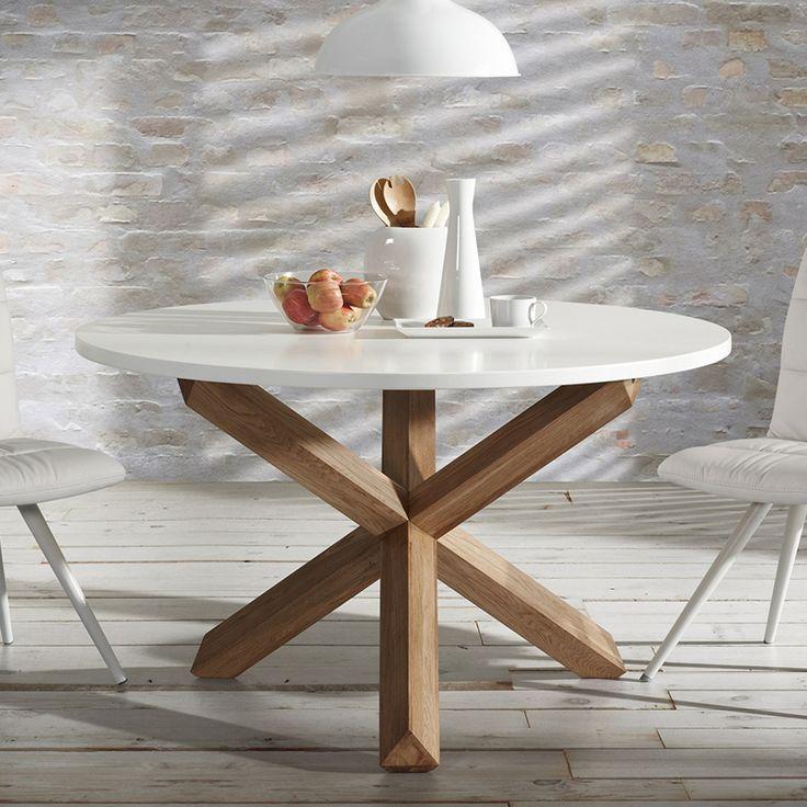 Mesa redonda · Round Table Beth 75x120 Ideal para comedor, con sobre de DM y patas cruzadas de roble macizo. #ArmonySpaceBCN