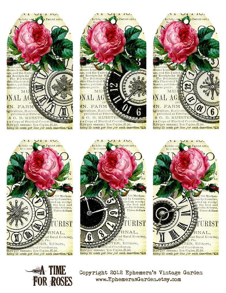 Ephemera's Vintage Garden: Free Printable of the Week: Rose Clock Hang Tags