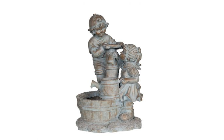 Boy and girl at tap water feature, resin 76cm High, includes pump. Our enormous on-site warehouse in Perth is continually stocked with water features, meaning you can find what you love and take it home today! Drovers inside and out.