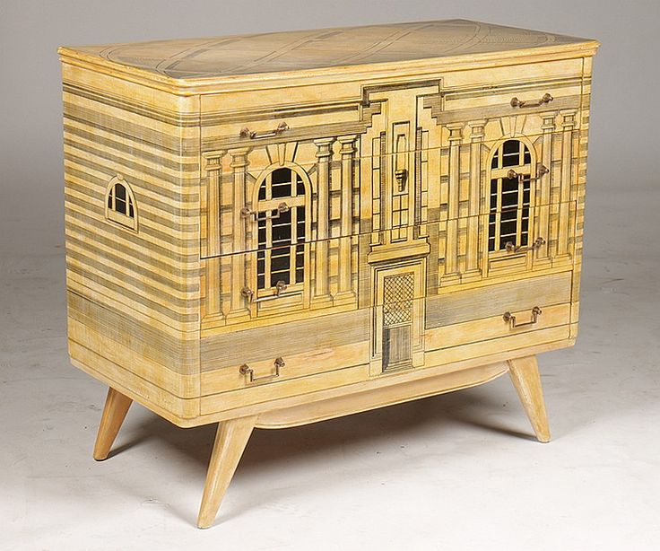 piero fornasetti furniture. Fornasetti Style Decorated Commode Having Neoclassical Inspired Architectural Building Faade Front And Sides Raised Piero Furniture