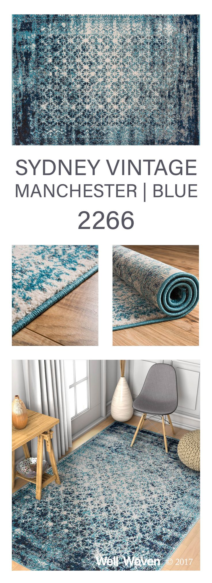 Sydney Vintage Manchester Blue is a bright and trendy rug with both modern geometric and updated traditional patterns.