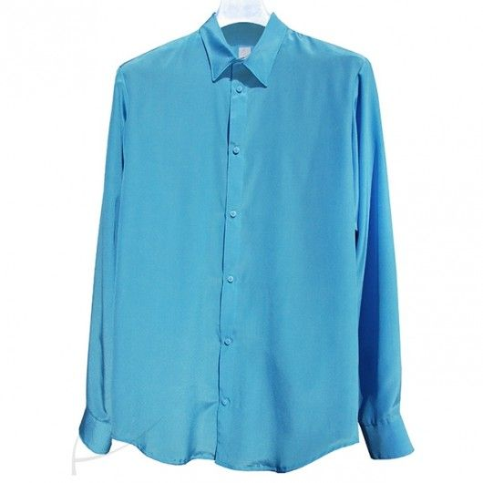 Błękitna koszula jedwabna. Do zamówienia w dowolnym rozmiarze i kolorze w butiku latkafashion.com