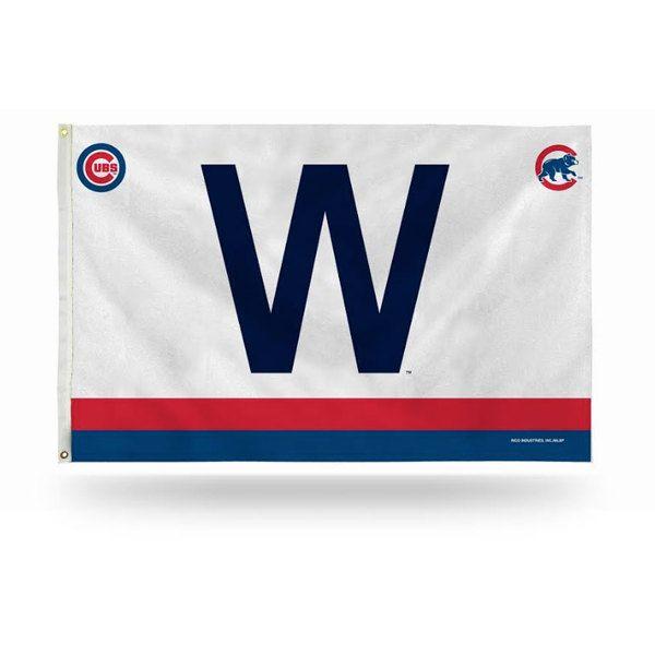 "Chicago Cubs 3' X 5' ""W"" Flag With Logos  #ChicagoCubs #Cubs #FlyTheW SportsWorldChicago.com"