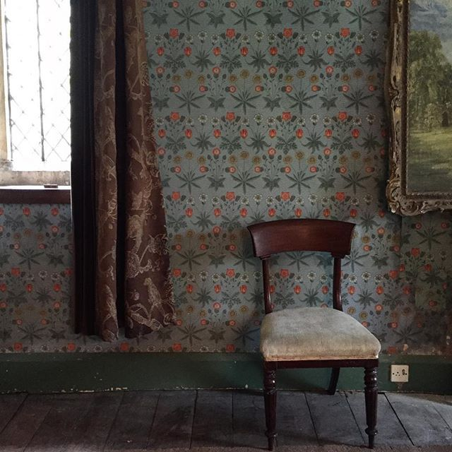 William Morris wallpaper in the dining room of Greenham Barton