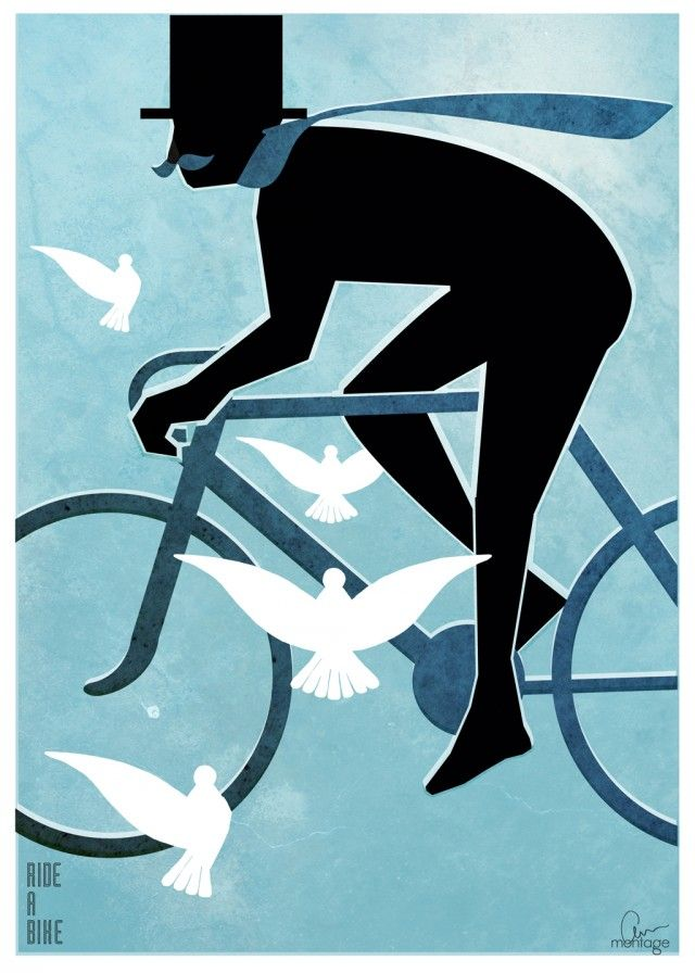 Ride a bike, beautiful illustration by Montage Anna Handell #nordicdesigncollective #blue #sun #wind #water #summer #ocean #marine #marin #sea #lake #sailing #scandinaviannature #nordicnature #archipelago #rideabike #bike #bicycle #ride #bird #birds #annhandell #poster #print #montageannahandell #man #mustache #scarf