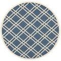 Safavieh Indoor/ Outdoor Courtyard Navy/ Beige Polypropylene Rug (4' Round) | Overstock.com Shopping - The Best Deals on Round/Oval/Square