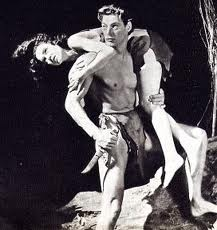 "Johnny Weissmuller as ""Tarzan"" with Maureen O'Sullivan as Jane."