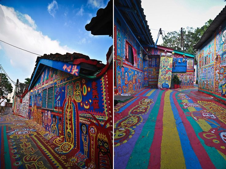 Taichung, Taiwan. Now called the Rainbow Village, 86-year-old, Haung Yung-Fu, has covered every square inch of wall space in colorful paintings. The buildings were slated to be torn down but the mayor has promised to preserve this amazing man's labor of love. This is a must see.