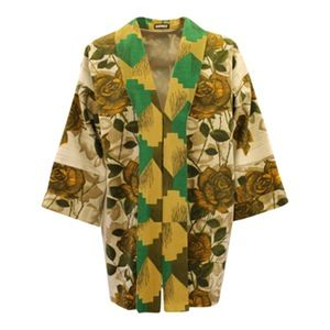 Image of Kimono jakke med store orange roser