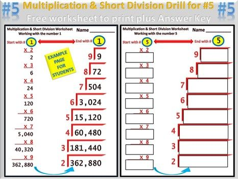 Best Multiplication Facts  Short Division Review Grades  To