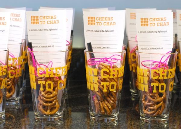 Beer birthday bash party favor with tasting list, pint glass and pretzel necklace